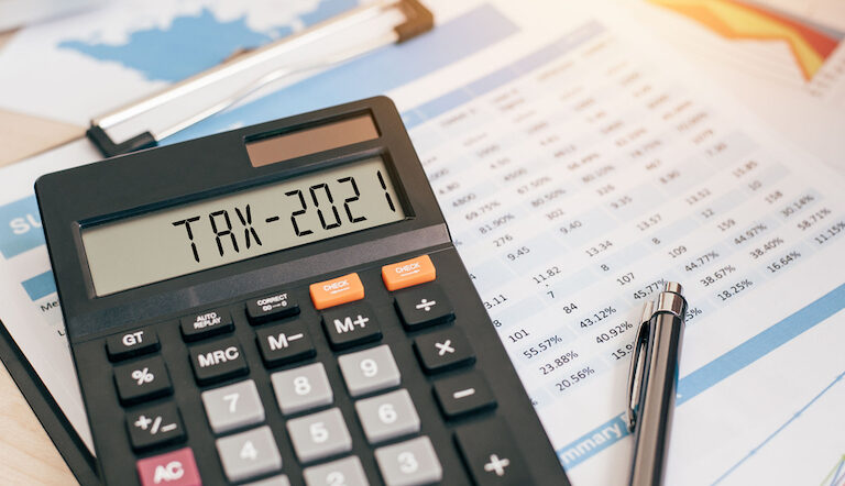 Tax,Word,And,2021,Number,On,A,Calculator.,Business,And